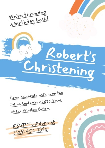 Kid Christening Birthday Invitation Card