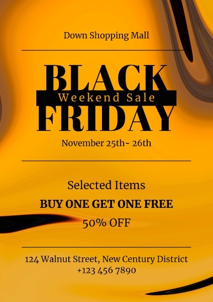 Yellow Black Friday Shopping Mall Sale