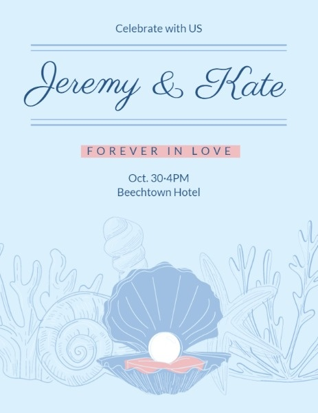 Blue Under Sea Wedding Program
