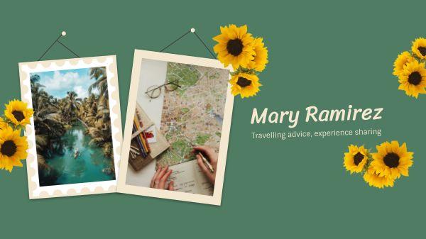 Green Sunflower Photo Frame Banner