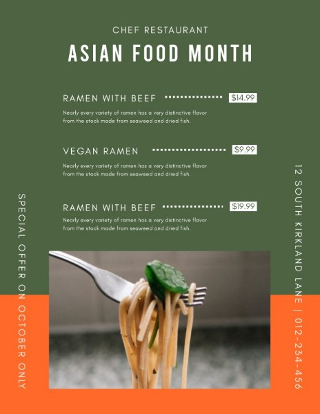 Orange Asian Food Month