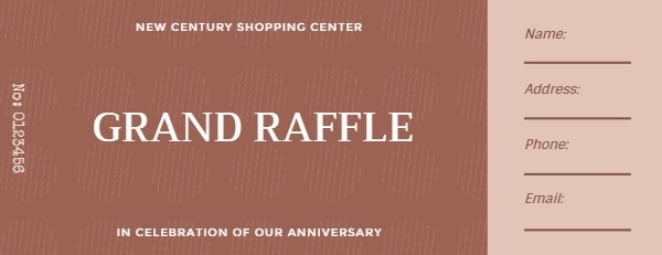 Red Shopping Center Raffle Ticket