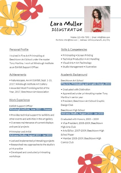 Illustrator Flower Art Resume