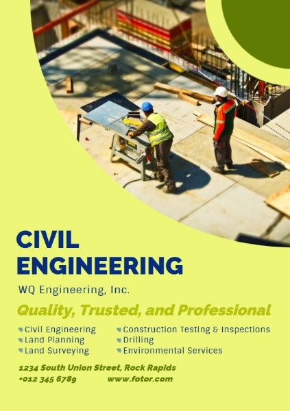 Online Civil Engineering Service Flyer Template Fotor Design Maker