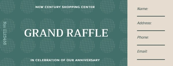 Green Shopping Center Raffle Ticket