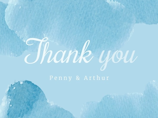 Blue Watercolor Thank You Card