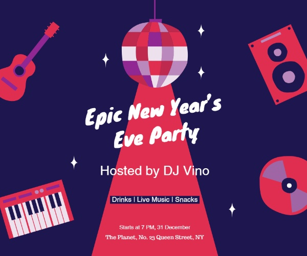 get more engagement with fotors new years eve party invitation facebook post template
