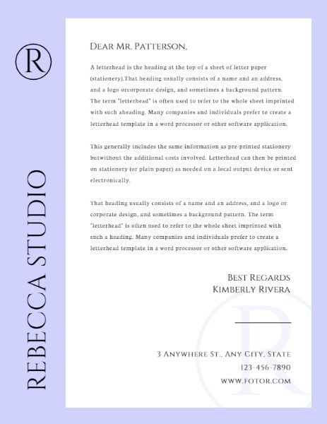 Purple Letterhead