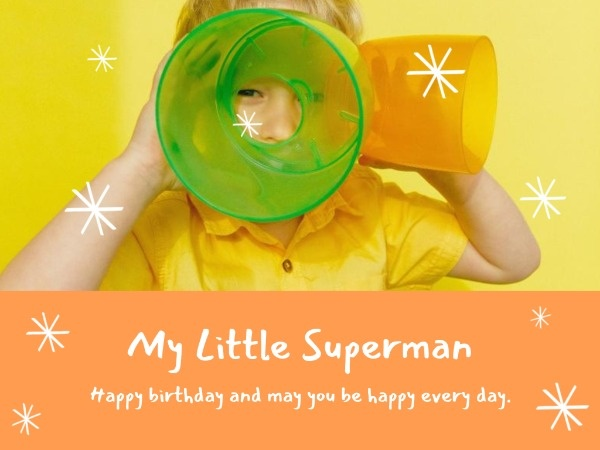 Yellow And Orange Boy's Birthday Card