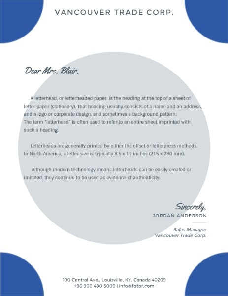 Simple White And Blue Letterhead