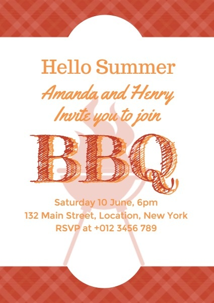 Red Summer Barbecue Party Invitation