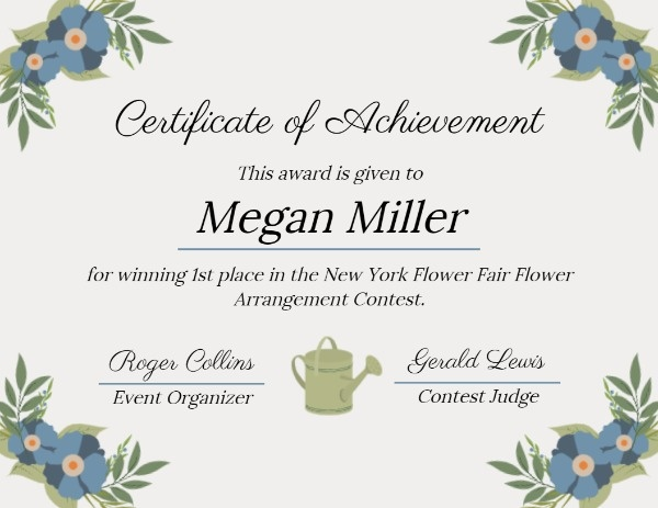 White Floral And Leaves Certificate