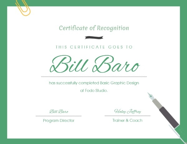 Green Certificate Of Recognition