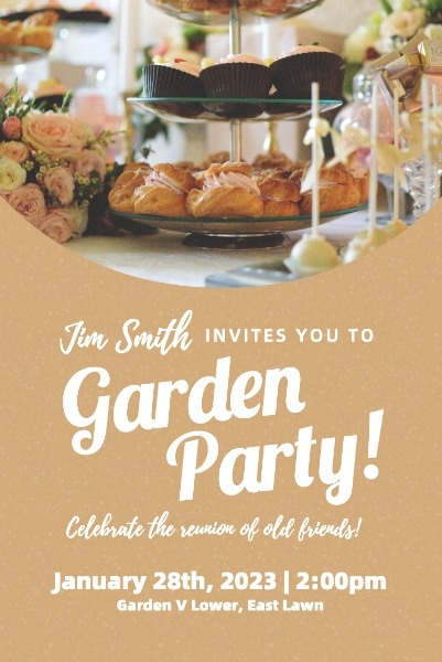 Brown Background Of Garden Party Invite