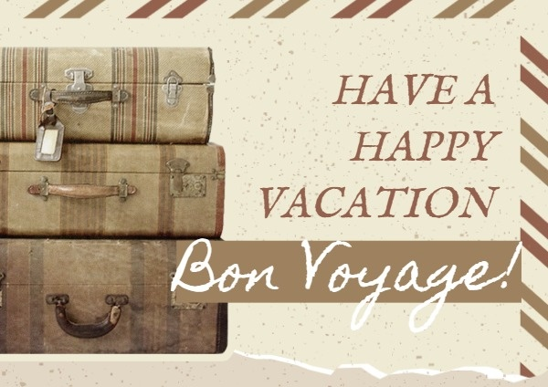 Vintage Vacation Travel Bon Voyage Card