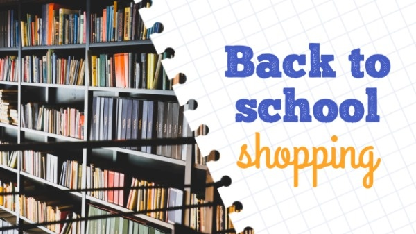 White Back To School Shopping YouTube Thumbnail Template