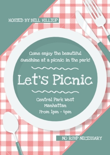 Green And Pink Picnic Invitation