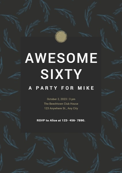 Awesome Sixty Birthday Party Invitation Card