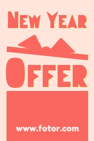 Red Background Of New Year Offer Gift Box