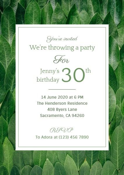 Green Birthday Invitation