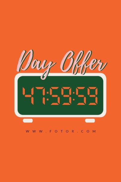 Orange Clock Countdown Limited Time Offer