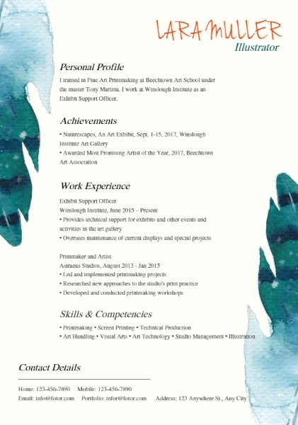 Illustrator Brush Art Resume