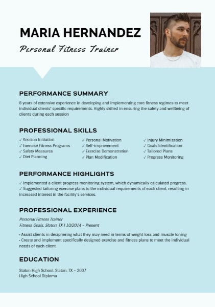 Personal Fitness Trainer Blue Resume