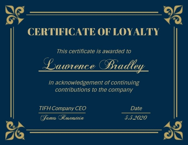 Dark Green Company Certificate Of Loyalty