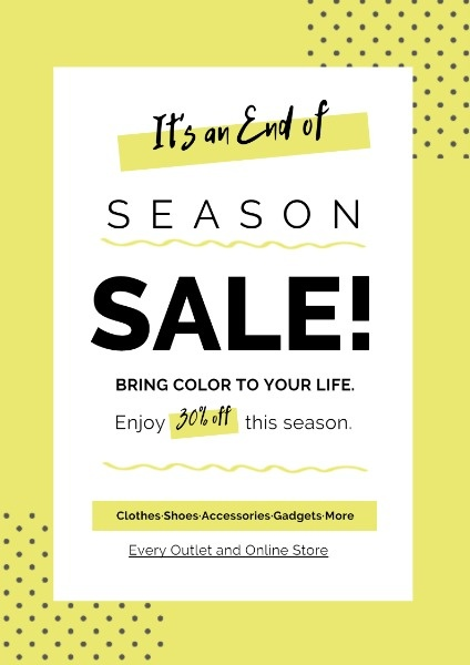 Yellow End Of Season Sale