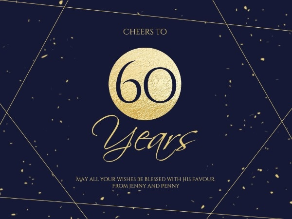 Dark Golden 60th Birthday Card