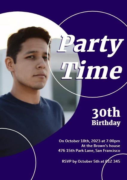 Purple Man's Birthday Party Invitation