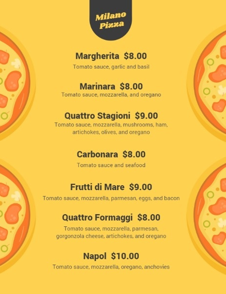 Yellow Pizza Shop Menu