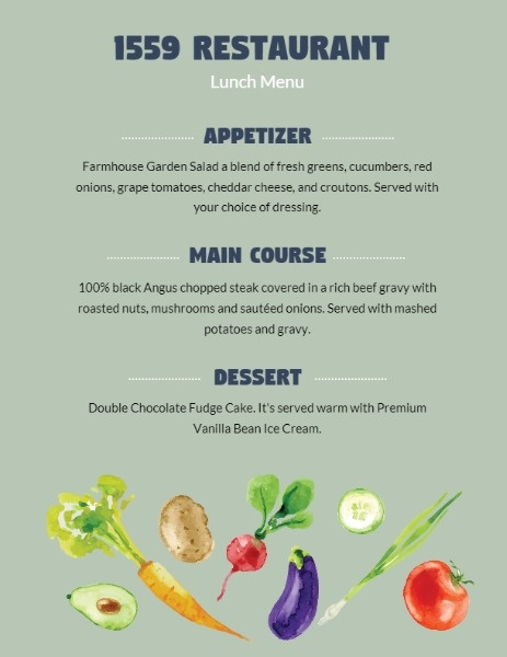 Green Vegan Restaurant Menu