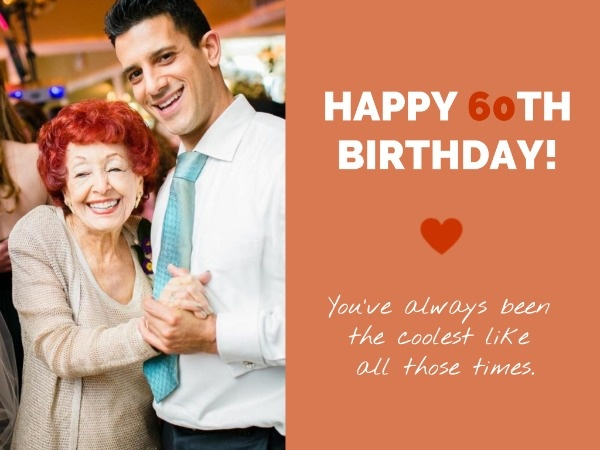 Orange 60th Birthday Wishes Card