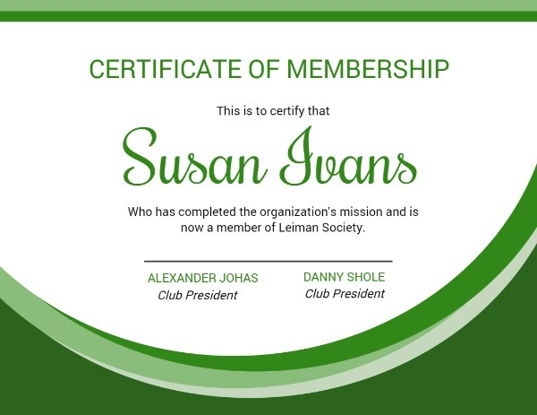 Green Certificate Of Membership
