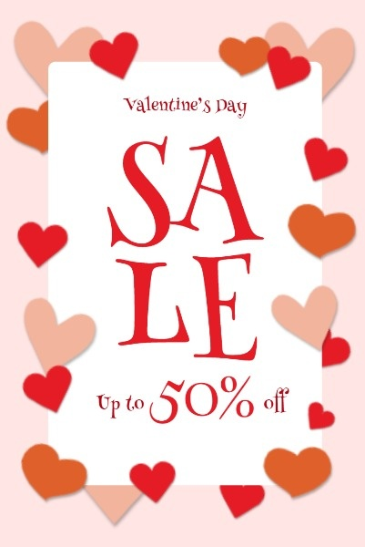 Pink Background Of Valentine's Day Sale