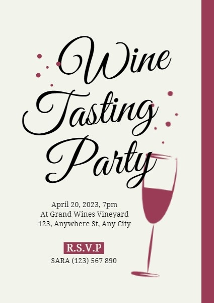 Red Glass Wine Tasting Party