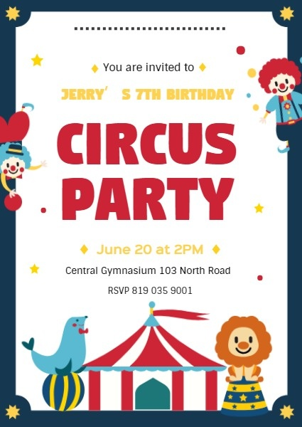 Online Circus Party Invitation Template