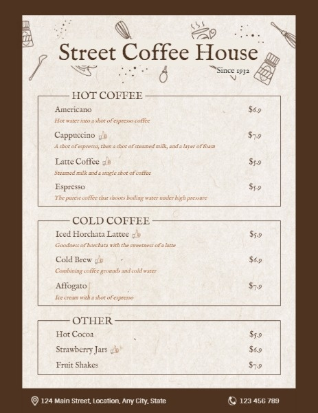 Brown Coffee House Menu