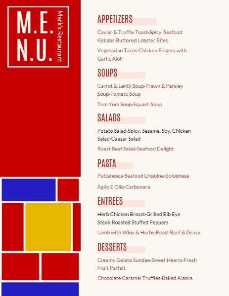 Red Restaurant Menu