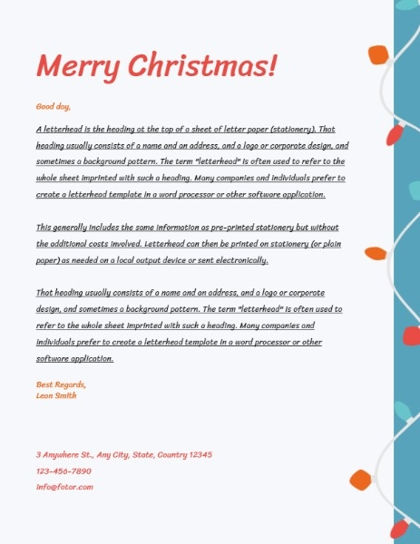 White Merry Christmas Greeting Letter