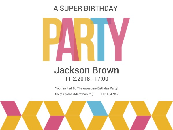 Awesome birthday party invitation