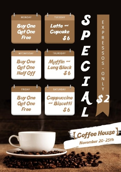 Black Coffee Shop Special Offer