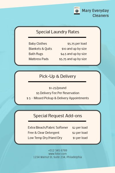 Laundry Service Price List