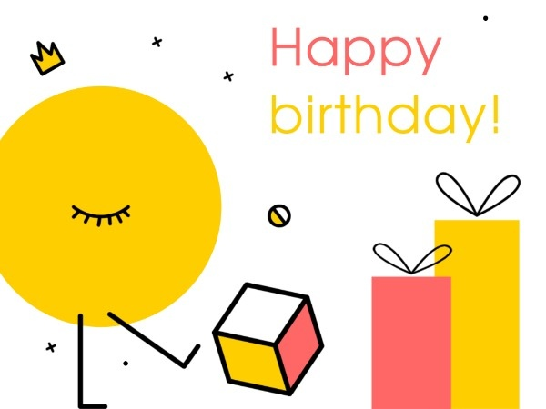Red And Yellow Cute Happy Birthday Card