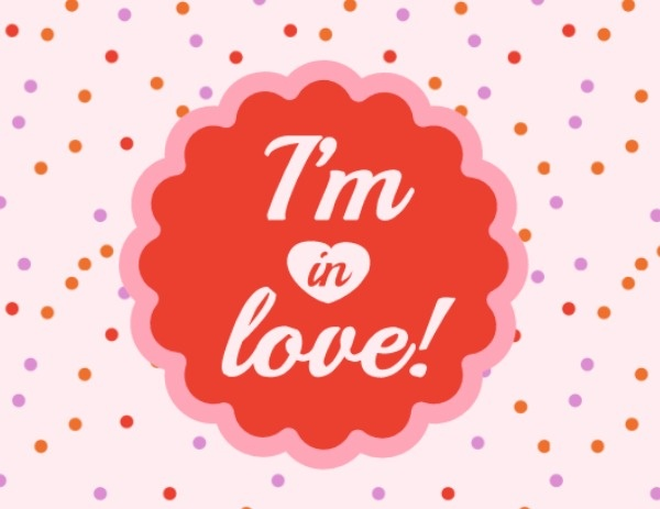 Cute Pink Dotted Love Label