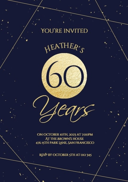 Dark Golden 60th Birthday Party Invitation