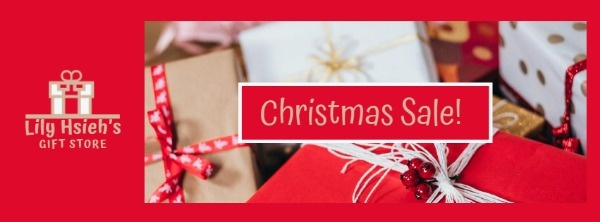 Gift Store Red Christmas Banner