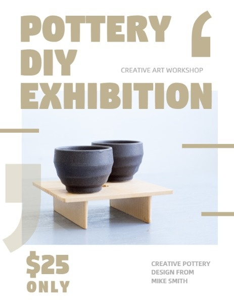 White And Golden Pottery DIY Exhibition