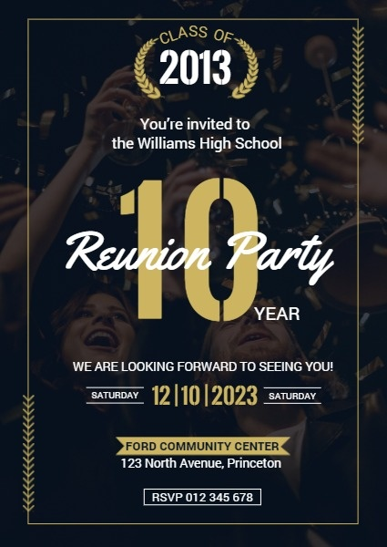 Black And Golden Class Reunion Party